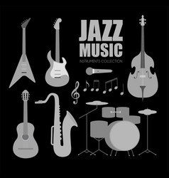 Music instruments set jazz band collection with vector