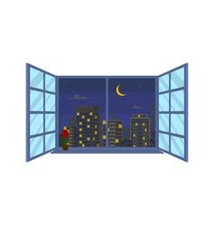 nighttime urban landscape in window scene concept vector image