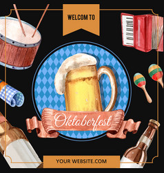 Oktoberfest frame with welcome alcohol beverage vector