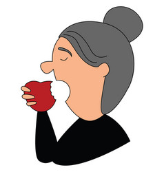 old woman eating apple on white background vector image