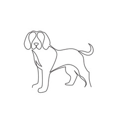 one continuous line drawing simple cute beagle vector image