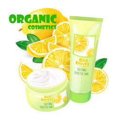 organic cosmetics product with lemon vector image