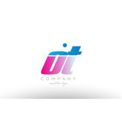 ot o t alphabet letter combination pink blue bold vector image vector image