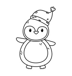 Penguin with hat celebration merry christmas thick vector