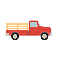 Pickup truck red retro farm truck isolated vector