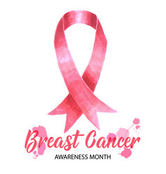 Pink ribbon symbol drawing for breast cancer vector