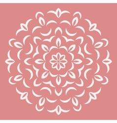 Round white flower pattern on pink backround vector