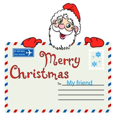 Santa Claus holds a mailing envelope with seal vector image