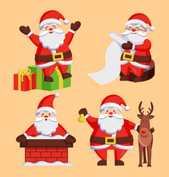 Santa clauses set icons snow chimney deer vector