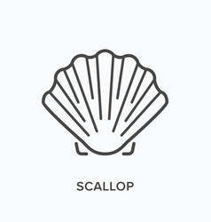 Scallop line icon outline of vector