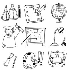 School education with hand draw in doodle vector image