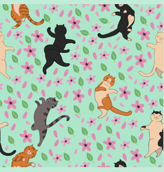 seamless pattern with cats and sakura graphics vector image