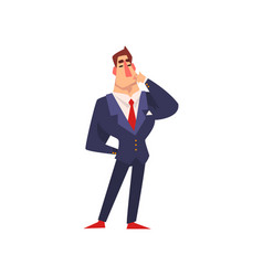 self confident businessman thinking over an idea vector image