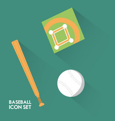 set concept icon baseball sport vector image