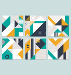 Set of 6 placard with geometric bauhaus shapes vector