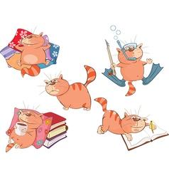 Set of Cartoon Cute Cats vector