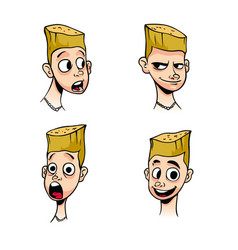 set of emotions of a little boy with blond hair vector image
