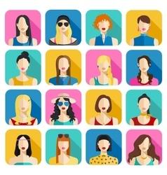 set women avatars icons colorful female faces vector image