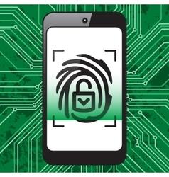 Smartphone fingerprint security vector image