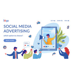 Social media marketing landing page flat template vector