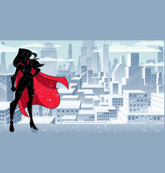 superheroine standing tall winter silhouette vector image