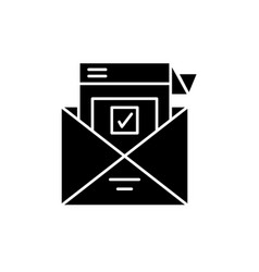 survey letter black icon sign on isolated vector image