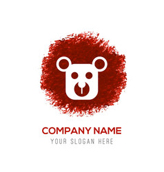Teddy bear icon - red watercolor circle splash vector