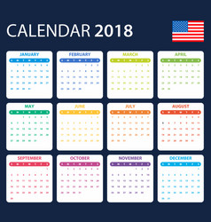 Usa calendar for 2018 scheduler agenda or diary vector