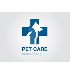 veterinary cross flat logo animal icon symbol vector image
