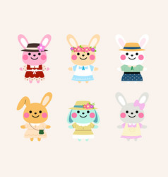 vintage rabbit character set vector image