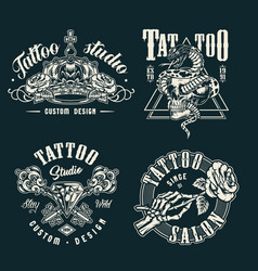 Vintage tattoo studio prints vector