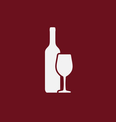 white wine bottle and wineglass icon isolated vector image