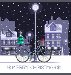 Winter bike with new year tree and gift box vector