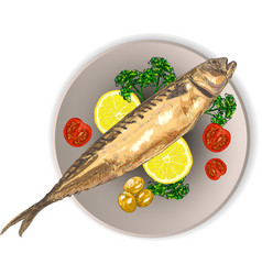 cooked fish and raw vegetables on a plate vector image vector image
