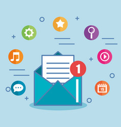 e-mail envelope marketing message and icons vector image vector image
