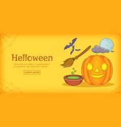haloween magic horizontal banner cartoon style vector image