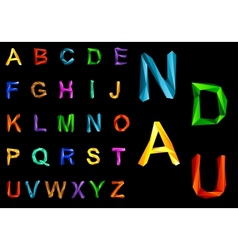 Origami alphabet set vector image