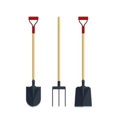 Set pitchfork shovel spade flat tool icon logo vector image