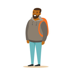 smiling bearded young black man in a grey hoodie vector image