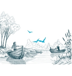Fisherman in boat sketch delta river or sea vector image