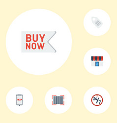 flat icons support purchase label and other vector image vector image