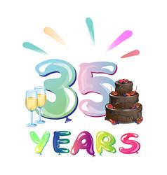 happy birthday thirty five year vector image