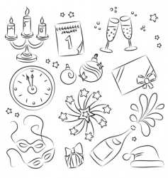 new years eve design elements vector image