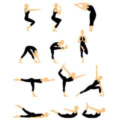 set of twelve abstract female yoga figures vector image