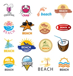 biggest collection of logos beach palm trees sea vector image