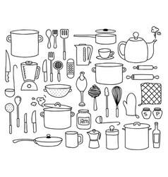 kitchen doodle vector image vector image
