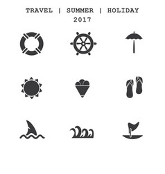 set of travel icons summer vacations vector image