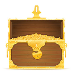 vintage wooden chest with stock vector image