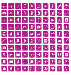 100 medical care icons set grunge pink vector