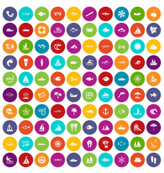 100 sea icons set color vector
